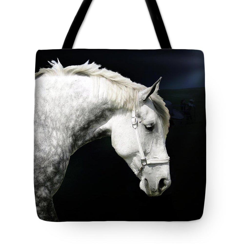 Grey Tote Bag featuring the photograph Grey Percheron Beauty II by Al Bourassa