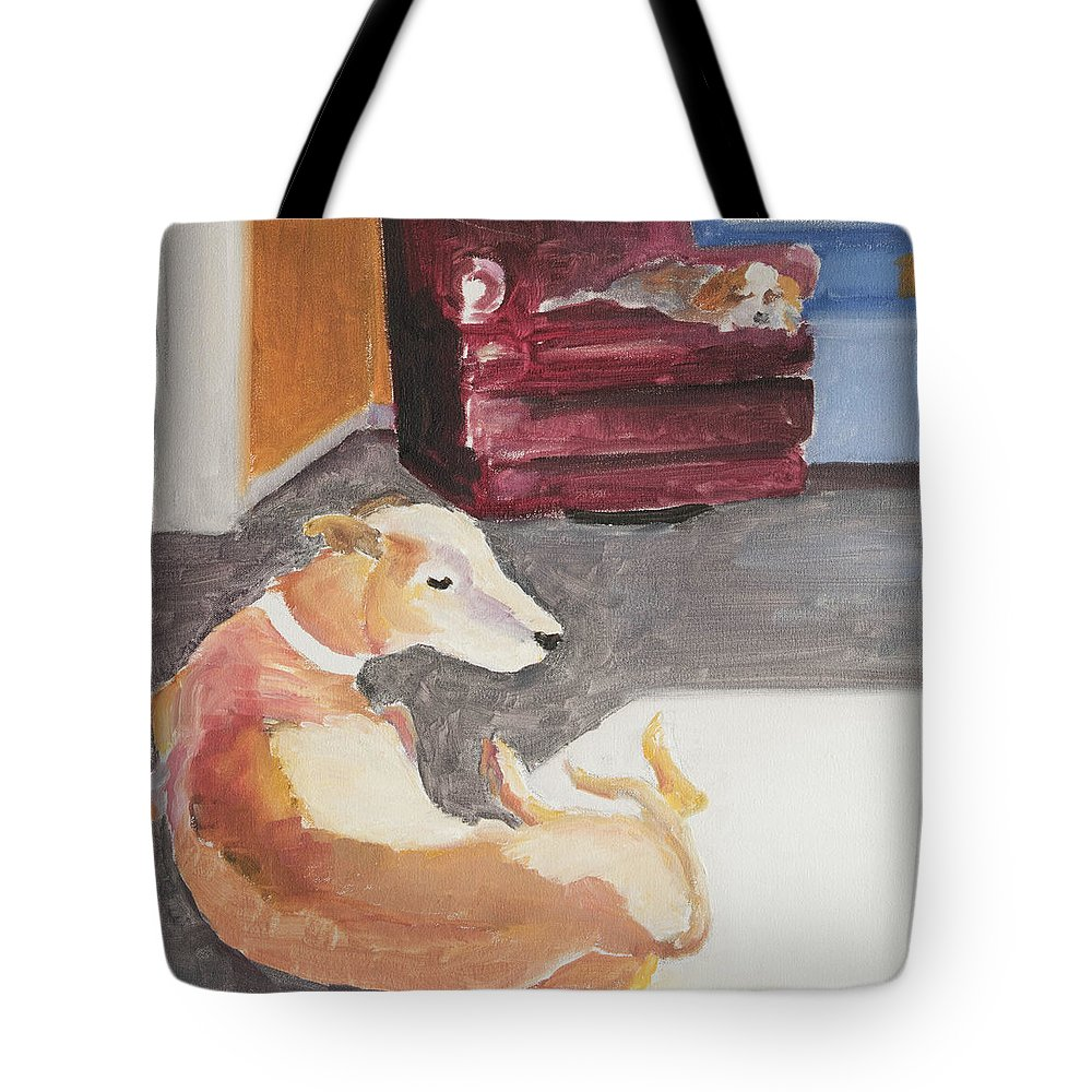 Greyhound Tote Bag featuring the painting Greyhound And Spaniel by Craig Newland