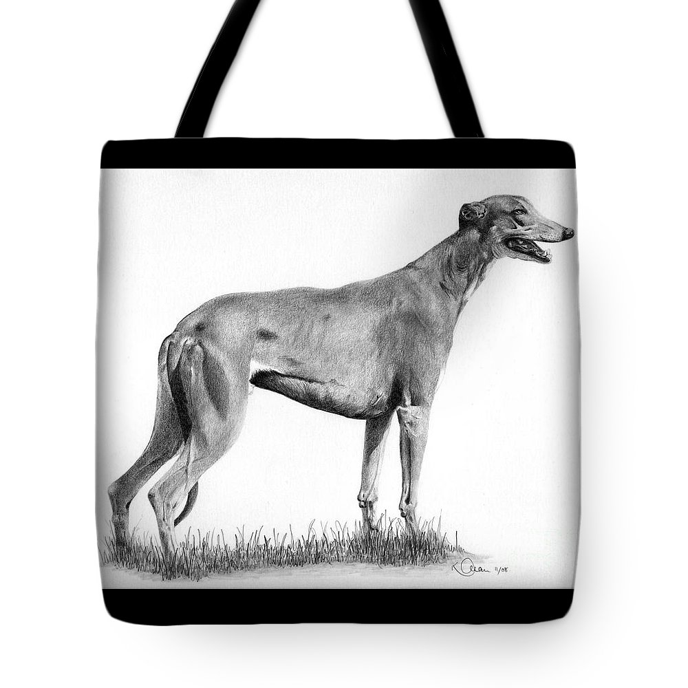 Dog Tote Bag featuring the drawing Greyhound by Karen Townsend