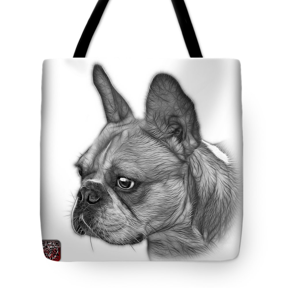 French Bulldog Tote Bag featuring the painting Greyscale French Bulldog Pop Art - 0755 Wb by James Ahn