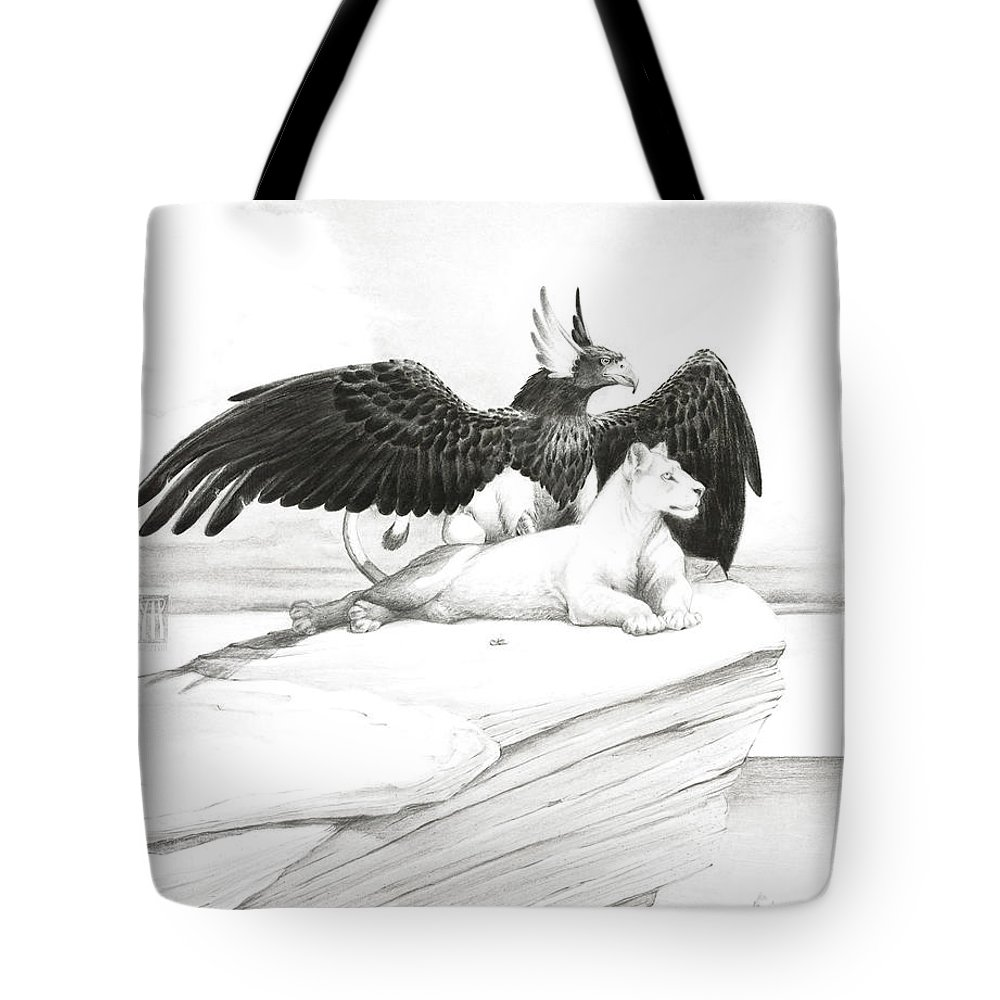 Griffin Tote Bag featuring the painting Griffin And Lioness by Melissa A Benson