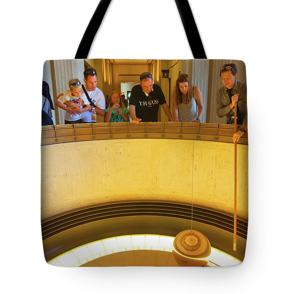 Griffith Observatory Tote Bag featuring the photograph Griffith Observatory - Foucault Pendulum by Ram Vasudev
