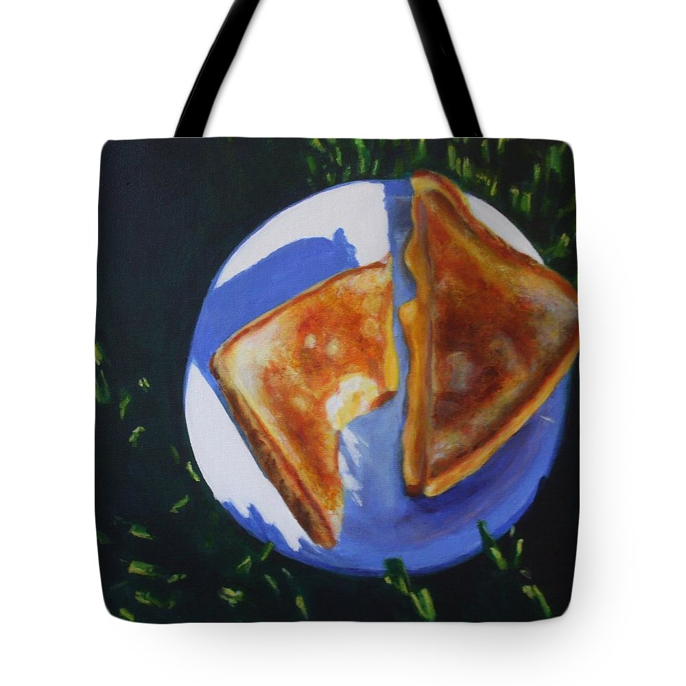Food Tote Bag featuring the painting Grilled Cheese Picnic by Sarah Vandenbusch
