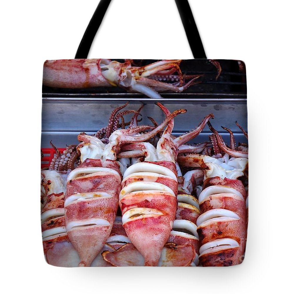 Seafood Tote Bag featuring the photograph Grilled Squid For Sale by Yali Shi