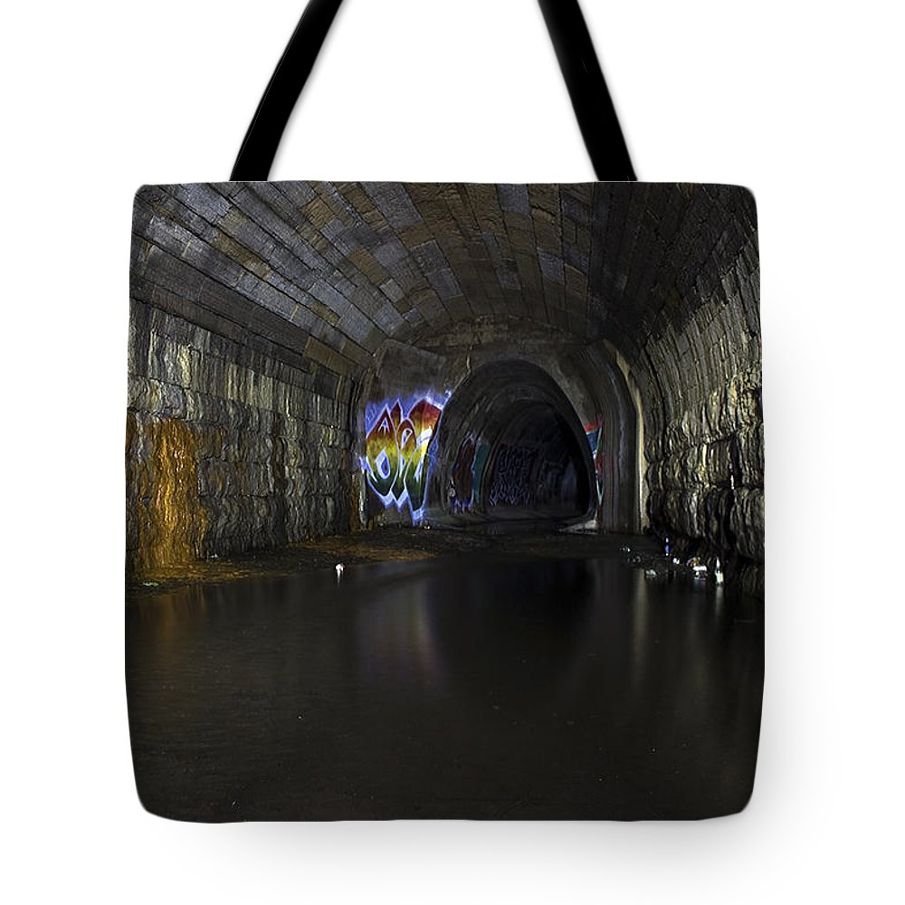 Tunnel Tote Bag featuring the photograph Grimy by Tyler Adams