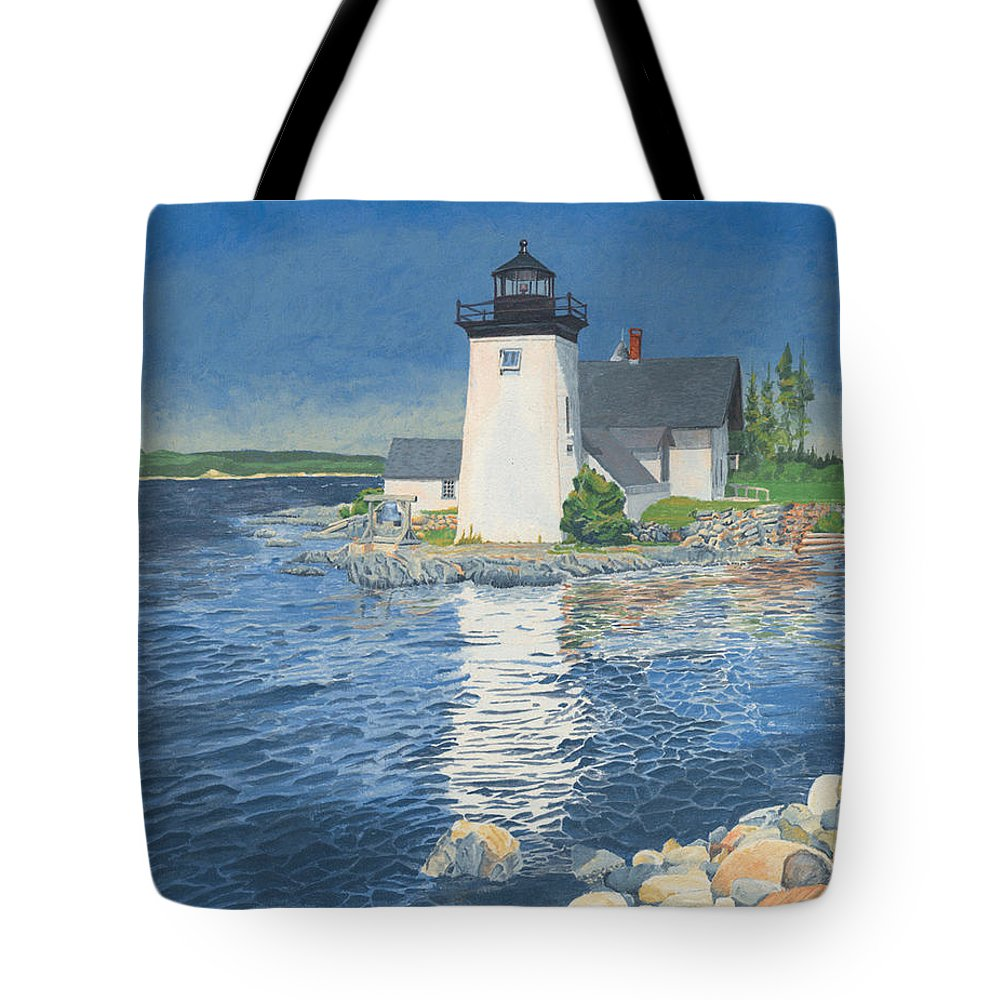 Lighthouse Tote Bag featuring the painting Grindle Point Light by Dominic White