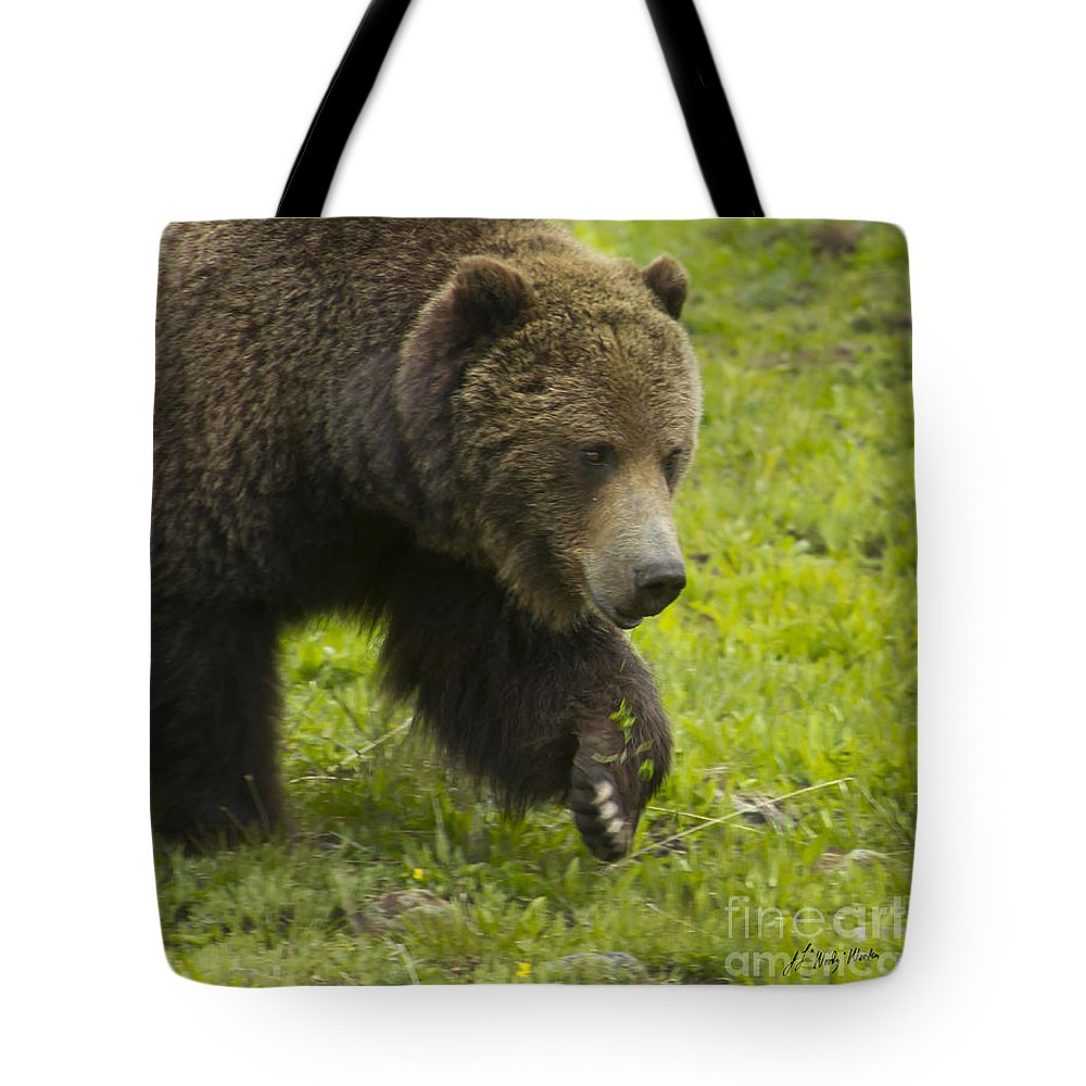 Bear Tote Bag featuring the photograph Grizzly Bear Boar-signed-#8517 by J L Woody Wooden