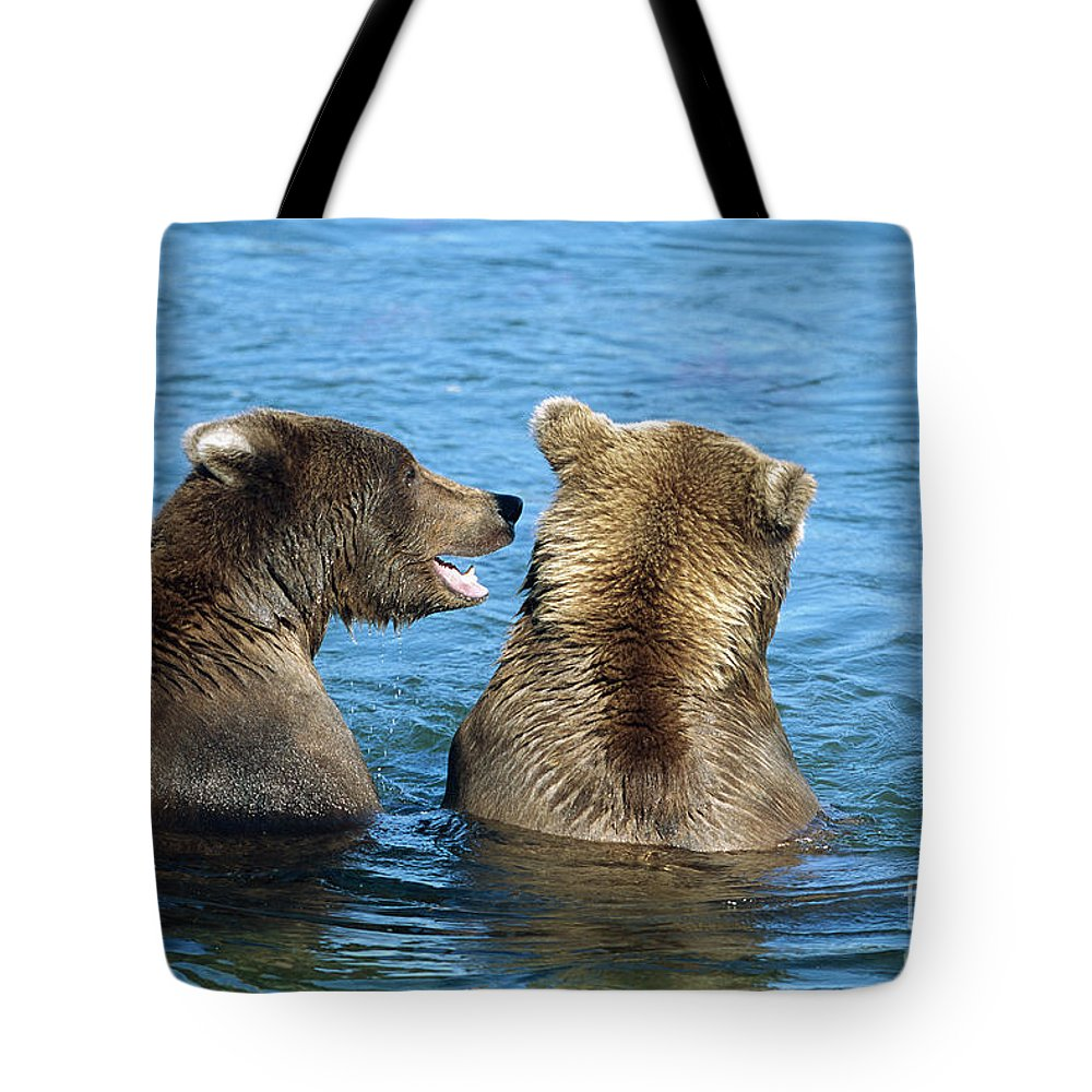 00340360 Tote Bag featuring the photograph Grizzly Bear Talk by Yva Momatiuk and John Eastcott