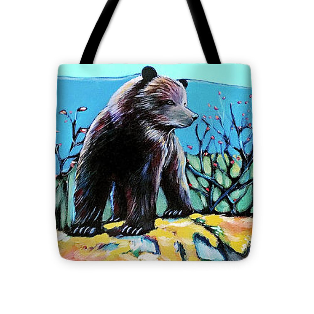 Grizzly Bear Tote Bag featuring the painting Grizzly Cub by Alison Newth