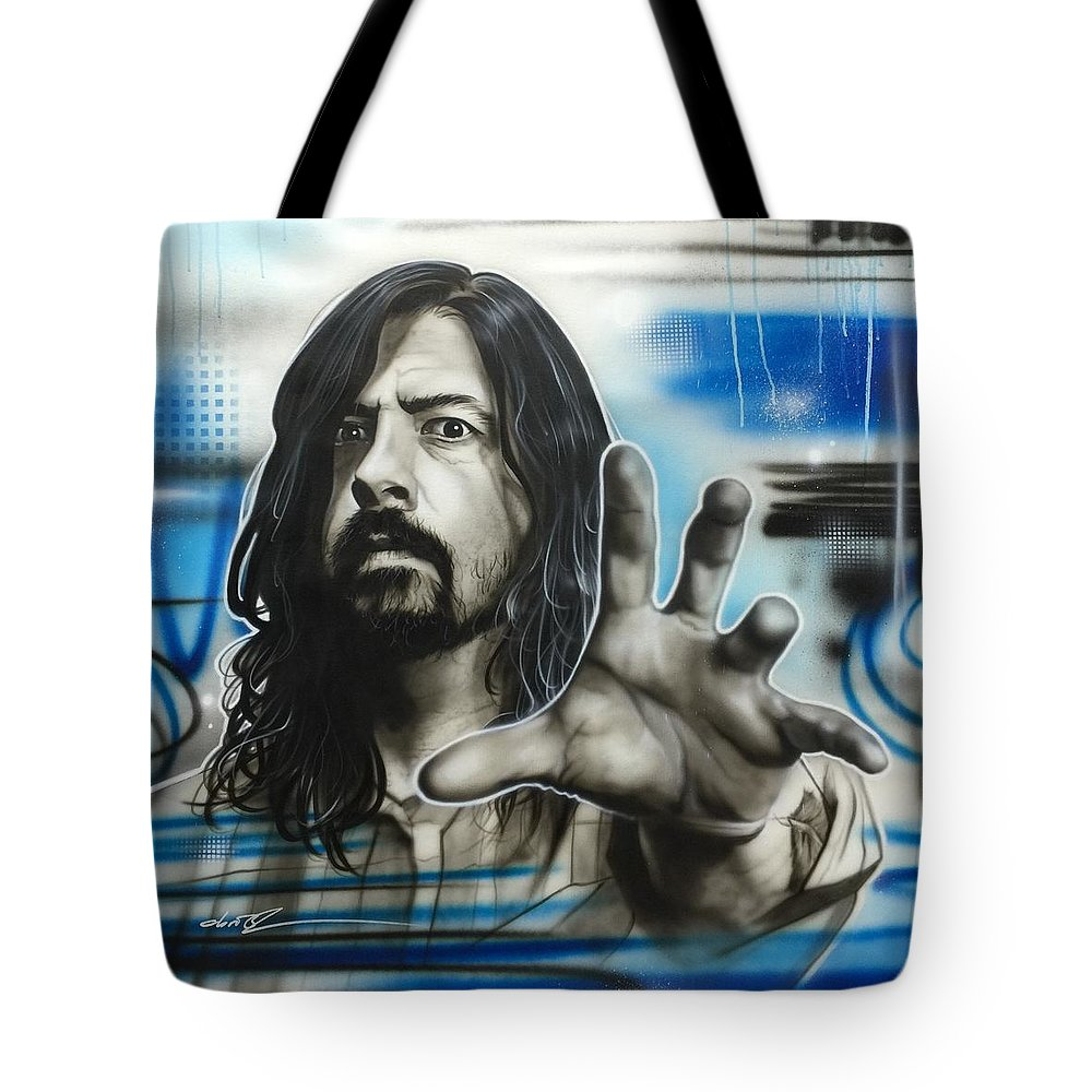 Dave Grohl Artwork Tote Bag featuring the painting Grohl Fighters by Christian Chapman Art