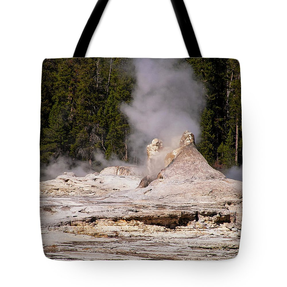Yellowstone National Park Tote Bag featuring the photograph Grotto Geyser Eruption Two by Bob Phillips