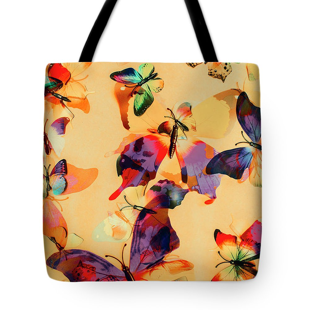 Background Tote Bag featuring the photograph Group Of Butterflies With Colorful Wings by Jorgo Photography - Wall Art Gallery