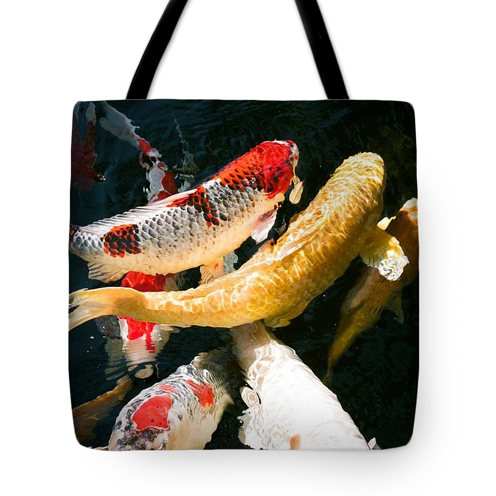 Fish Tote Bag featuring the photograph Group Of Koi Fish by Dean Triolo