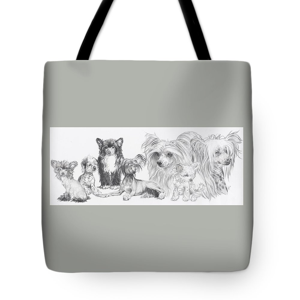 Toy Group Tote Bag featuring the drawing Growing Up Chinese Crested And Powderpuff by Barbara Keith