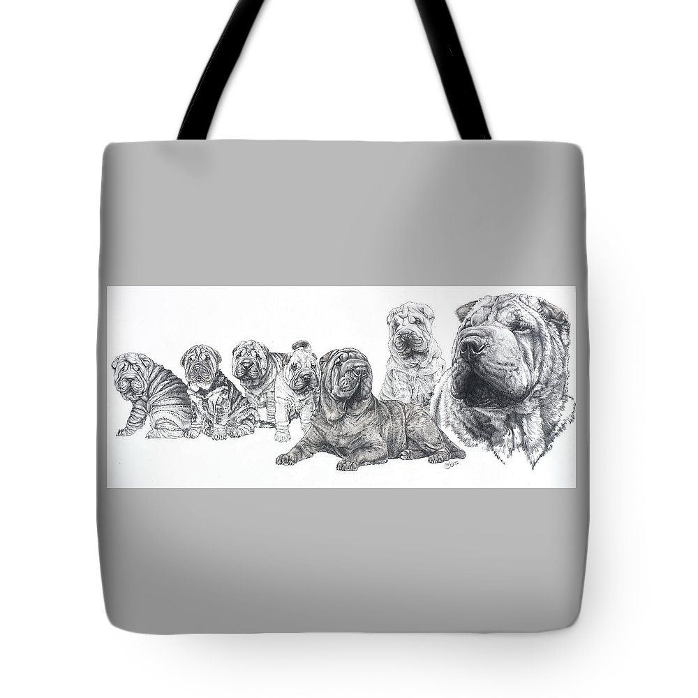 Non-sporting Group Tote Bag featuring the drawing Growing Up Chinese Shar-pei by Barbara Keith