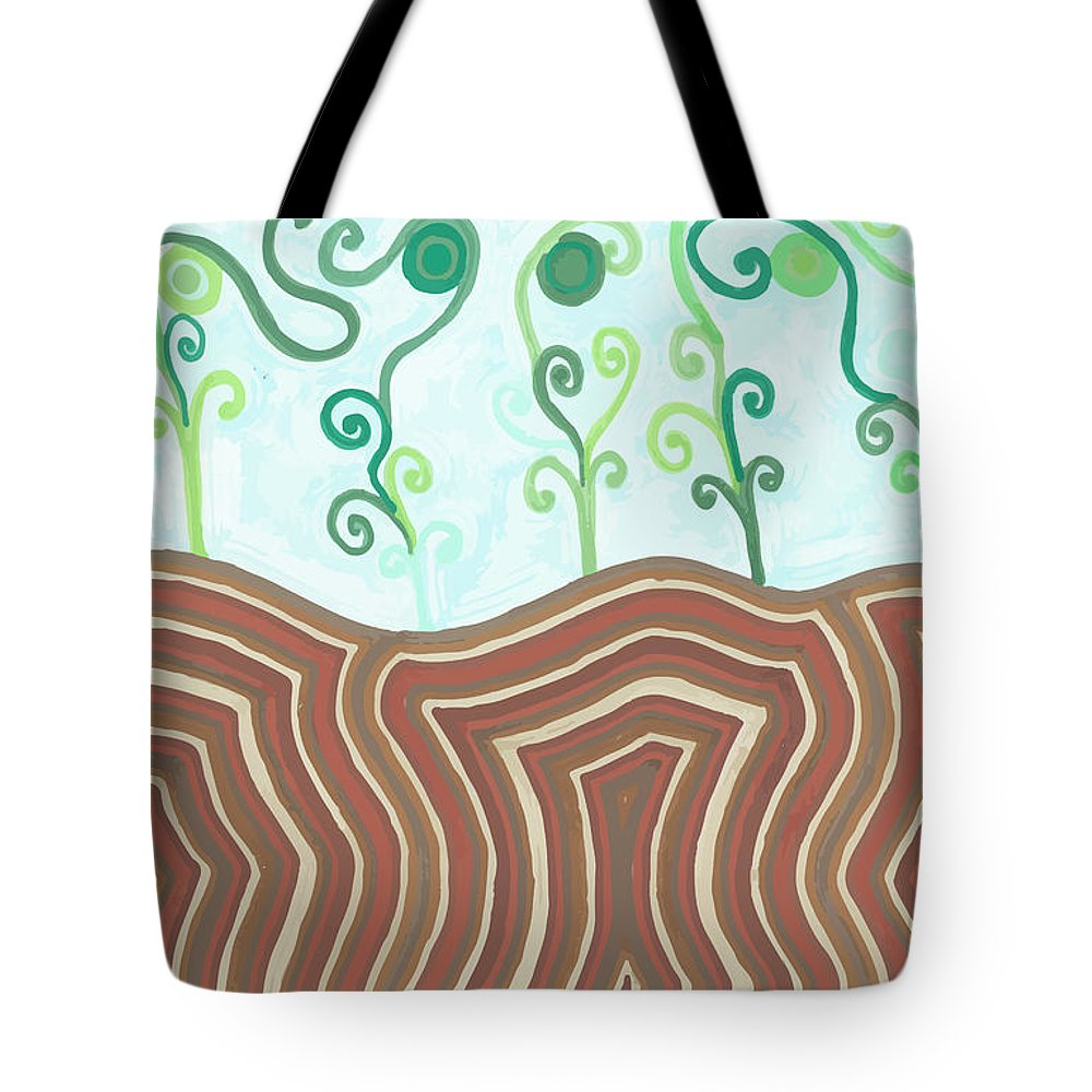 Floral Tote Bag featuring the drawing Growth by Jill Lenzmeier