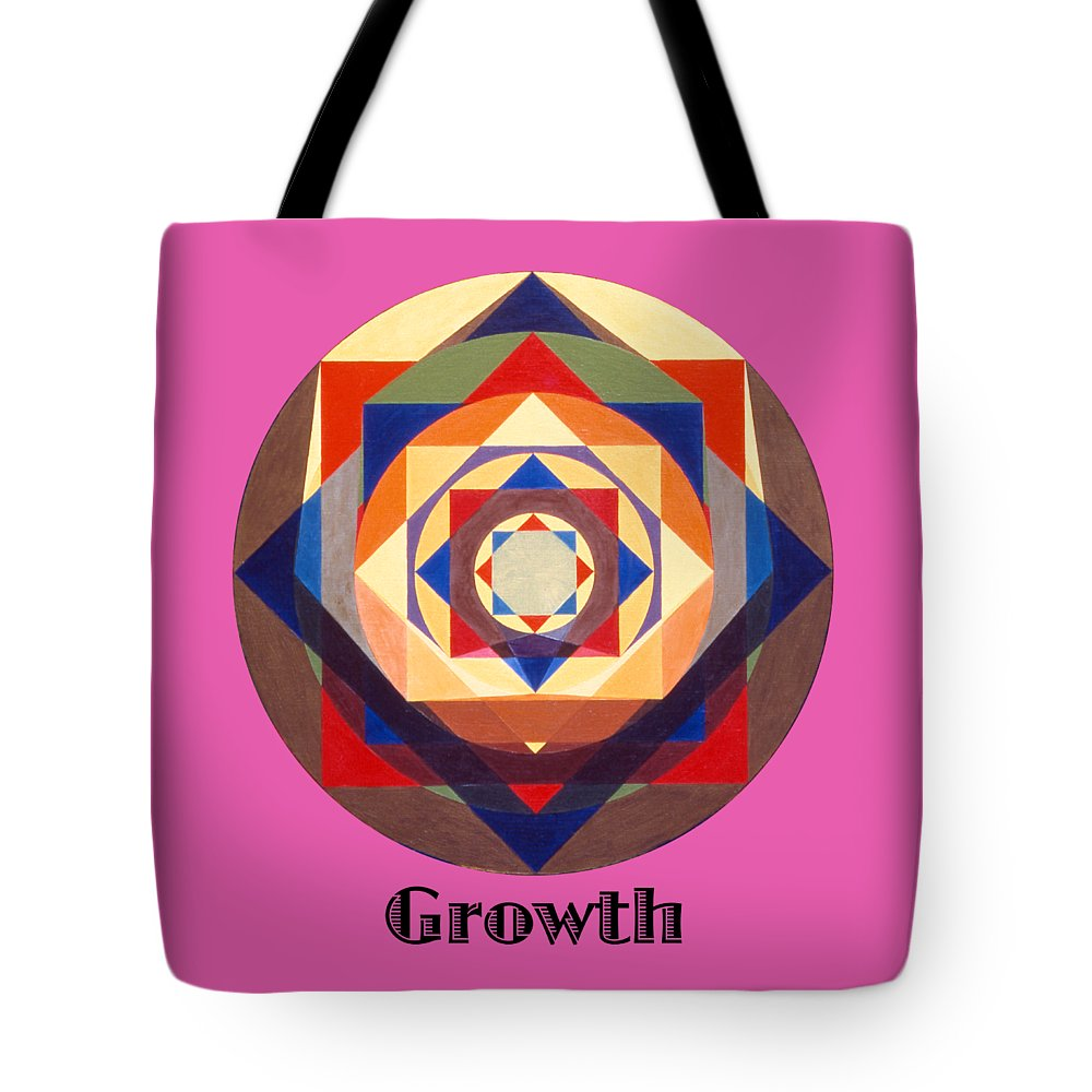 Painting Tote Bag featuring the painting Growth text by Michael Bellon