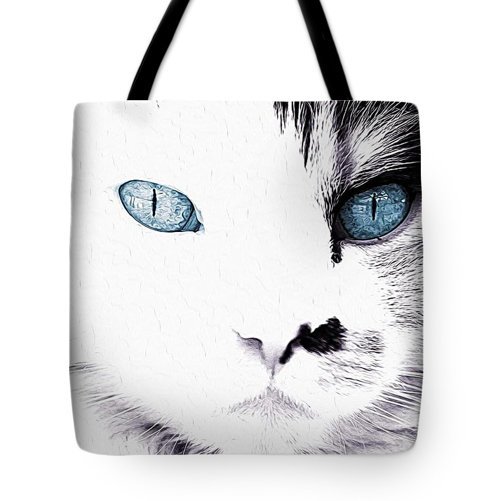 Cats Tote Bag featuring the painting Grumpy Cat Portrait by Queso Espinosa