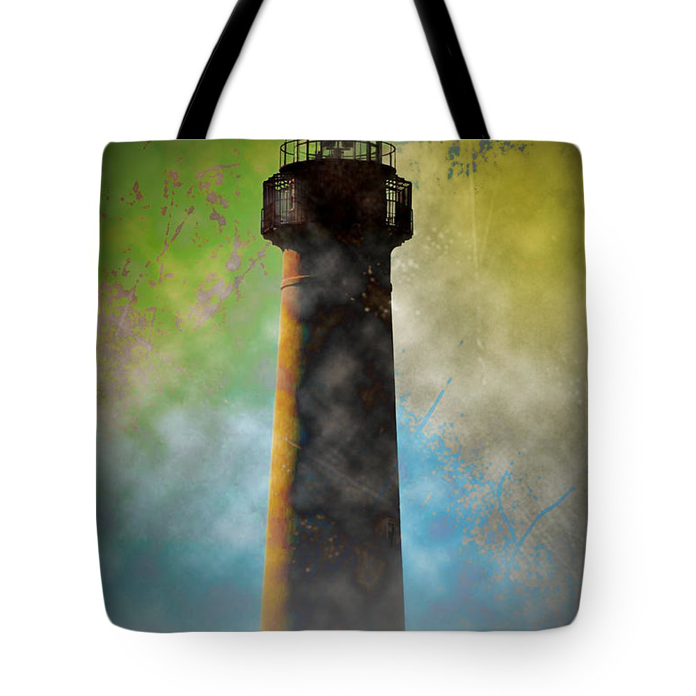 Grunge Tote Bag featuring the photograph Grunge Lighthouse by Bill Cannon