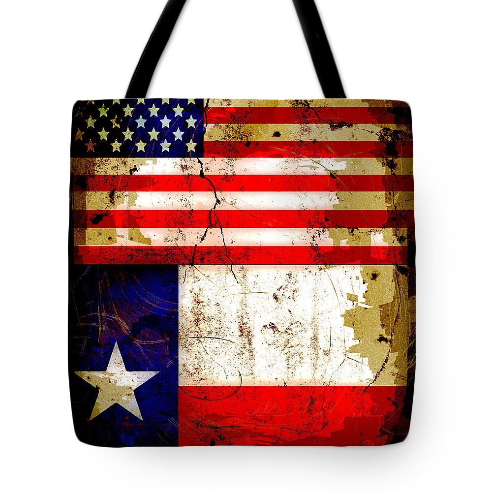 332b6df6826 Usa Tote Bag featuring the photograph Grunge Style Us And Texas Flags by David  G Paul