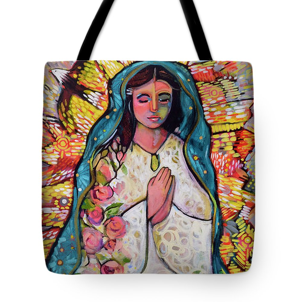 Jen Norton Tote Bag featuring the painting Guadalupe by Jen Norton