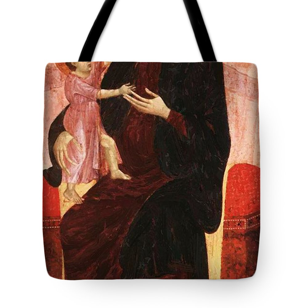 Gualino Tote Bag featuring the painting Gualino Madonna by Duccio