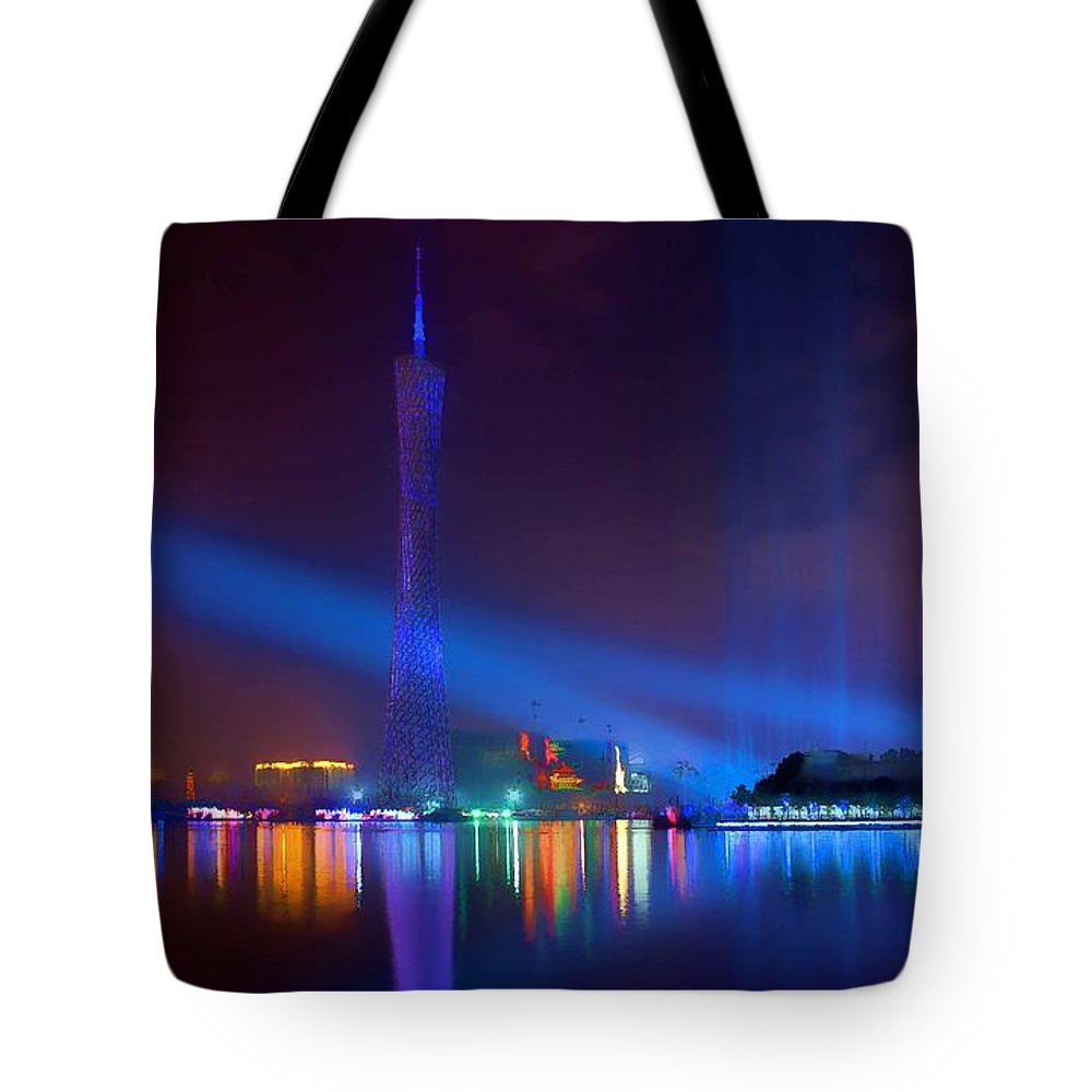 Guangzhou Tv Tower Tote Bag featuring the painting Guangzhou Tv Tower 1 by Jeelan Clark