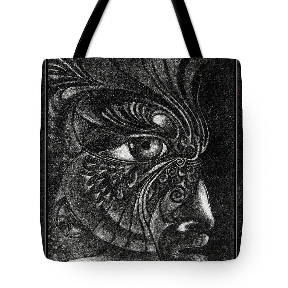 Mezzotint Tote Bag featuring the drawing Guardian Cherub by Otto Rapp
