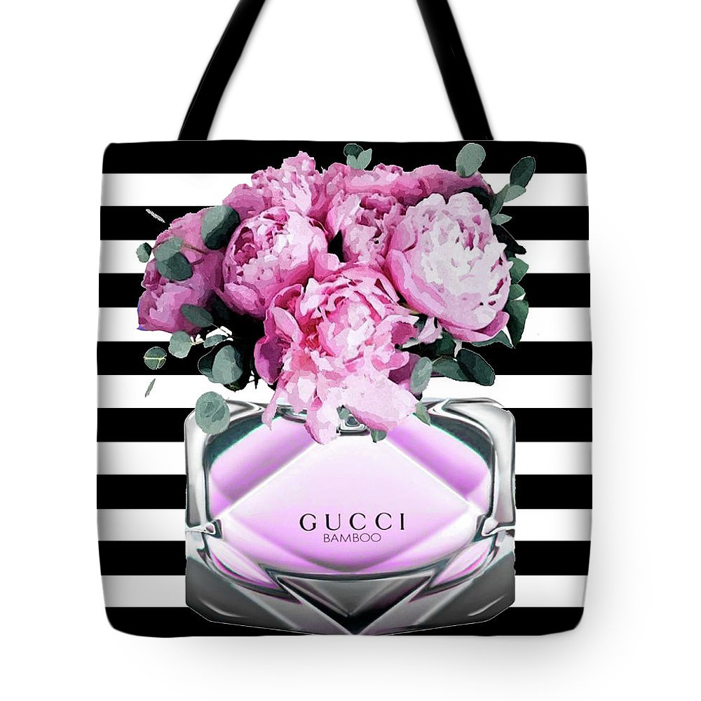 Gucci Pink Perfume Tote Bag For Sale By Del Art