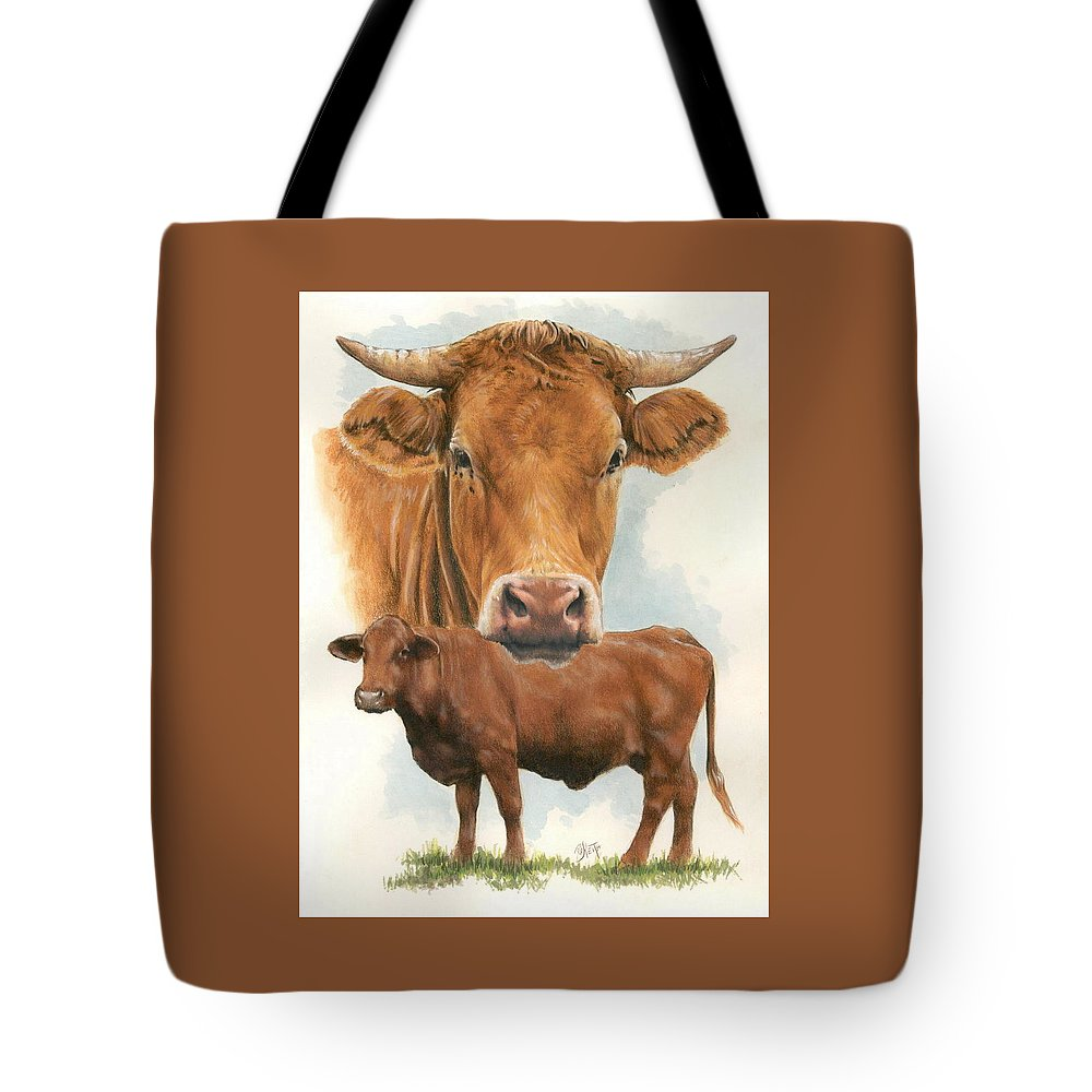 Cow Tote Bag featuring the mixed media Guernsey by Barbara Keith