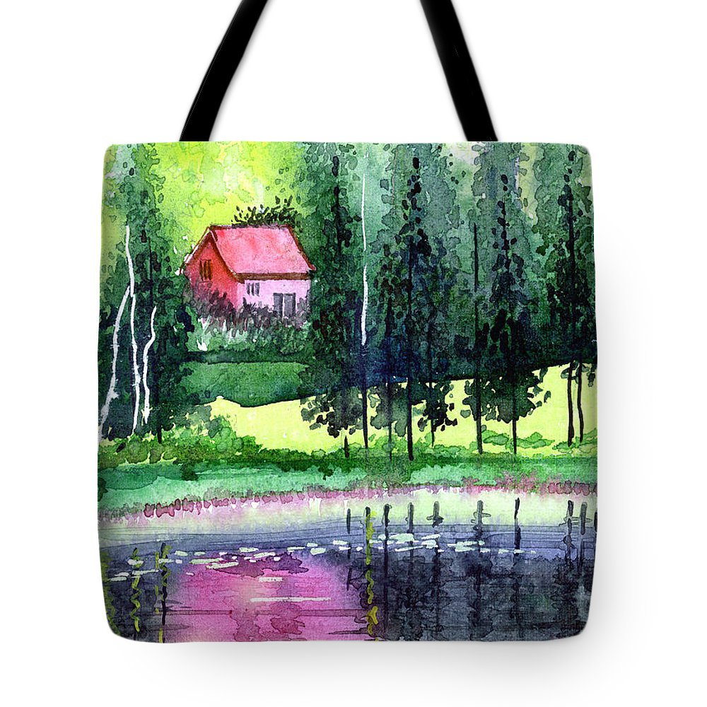 Landscape Tote Bag featuring the painting Guest House by Anil Nene