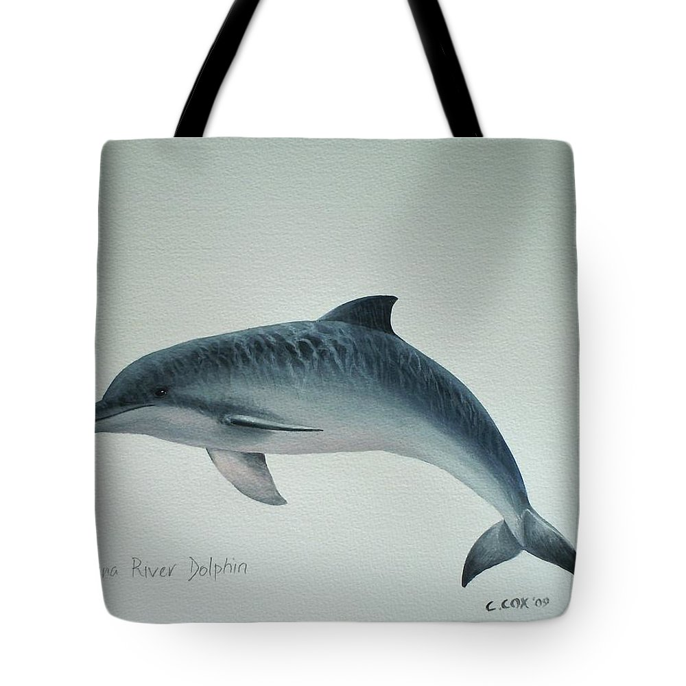 River Dolphin Tote Bag featuring the painting Guiana River Dolphin by Christopher Cox