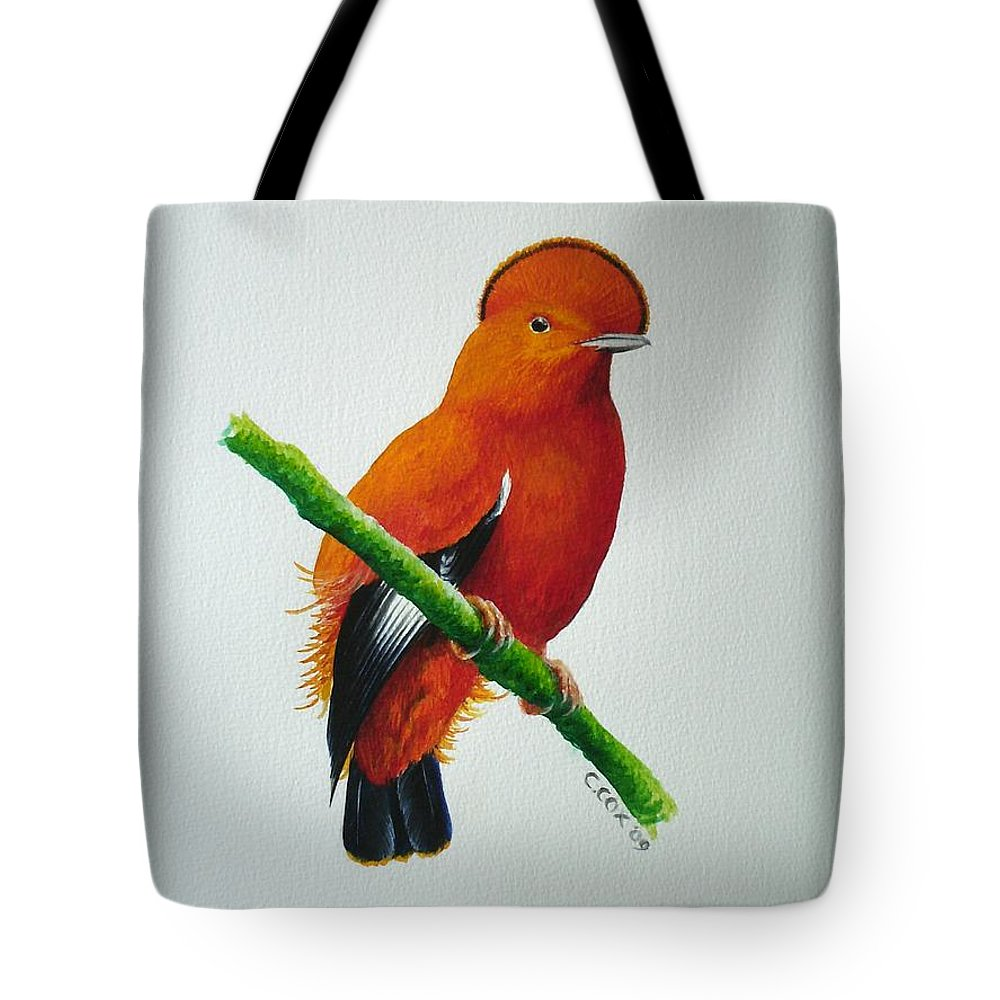 Cock-of-the-rock Tote Bag featuring the painting Guianan Cock-of-the-rock by Christopher Cox