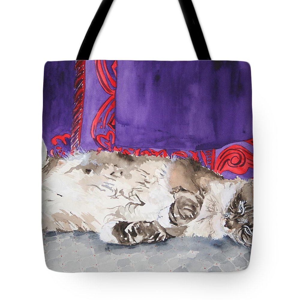 Cat Tote Bag featuring the painting Guilley by Jean Blackmer