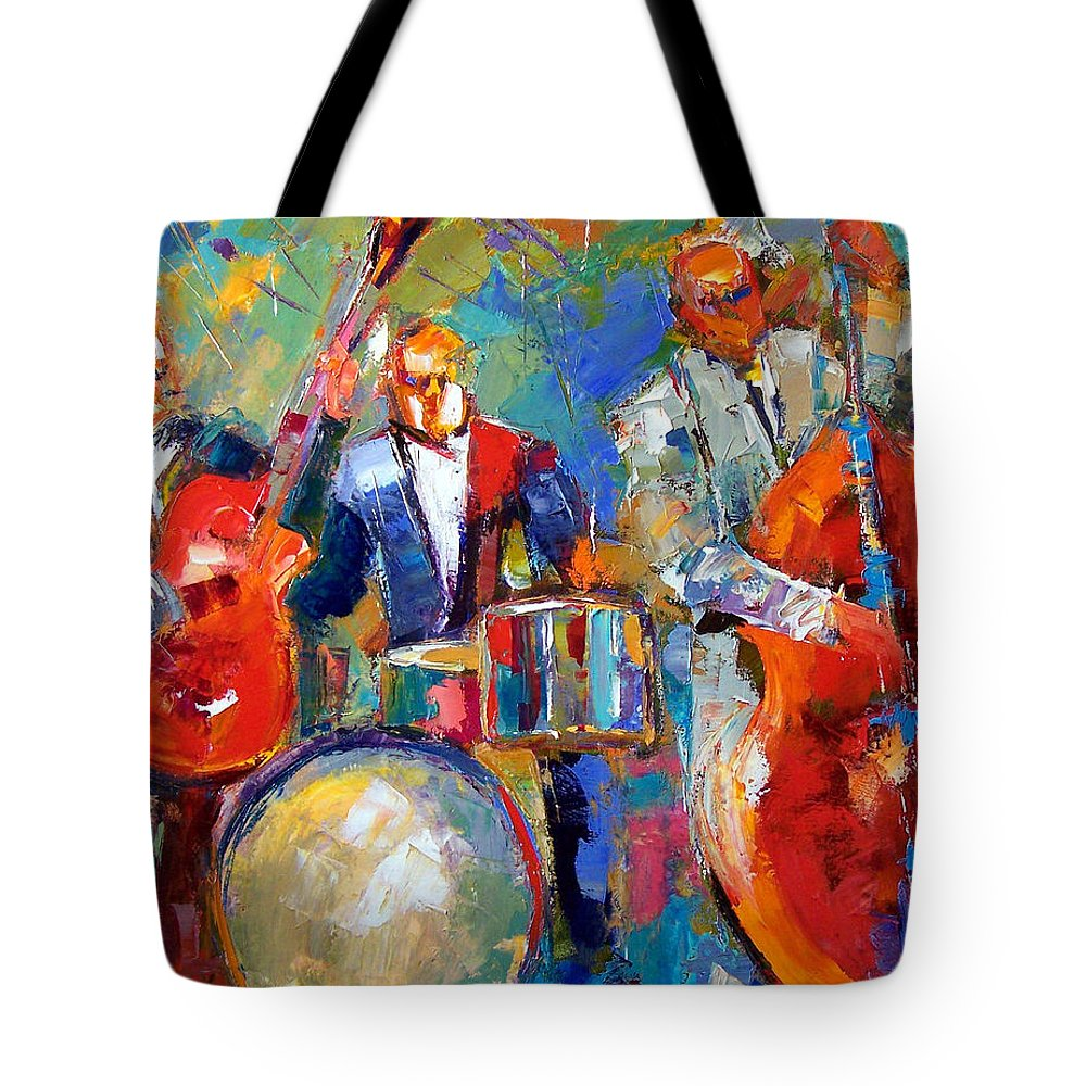 Jazz Painting Tote Bag featuring the painting Guitar Drums And Bass by Debra Hurd