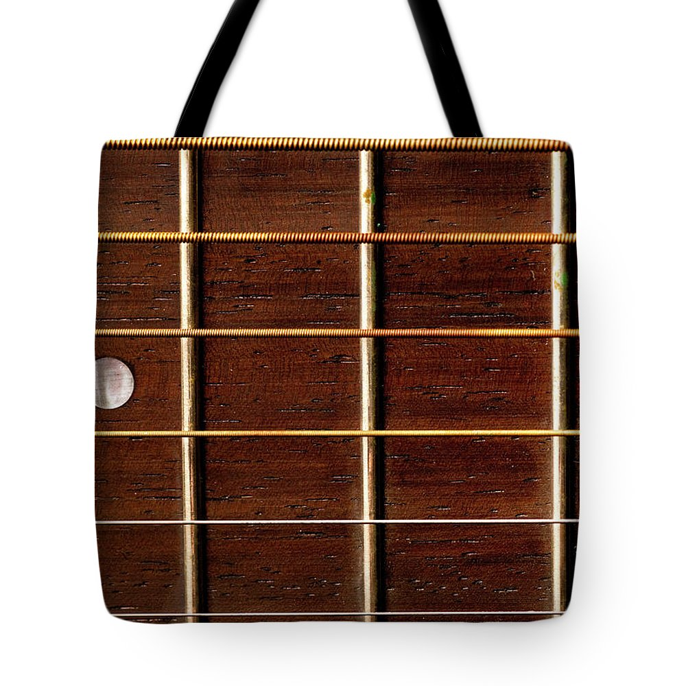 Six String Guitar Tote Bag featuring the photograph Guitar Fret Board by Onyonet Photo Studios
