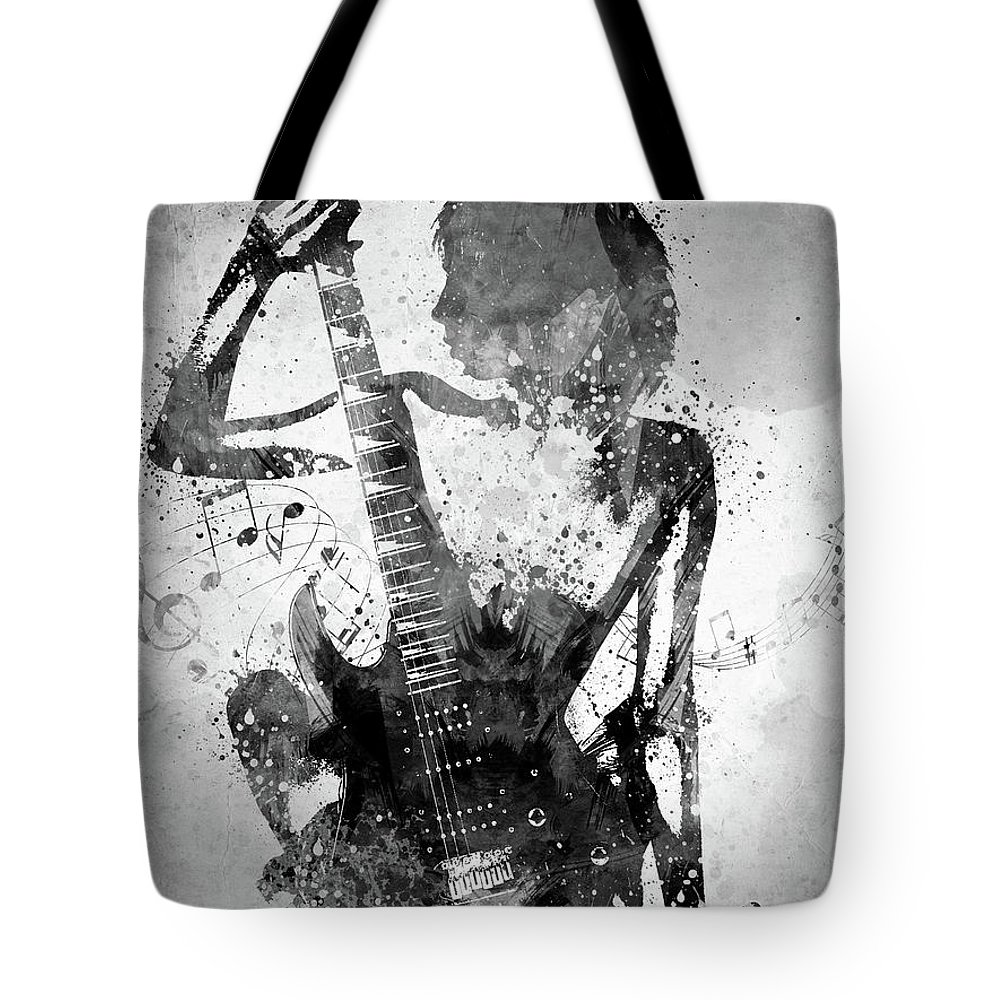 Guitar Tote Bag featuring the digital art Guitar Girl Black and White by Aged Pixel
