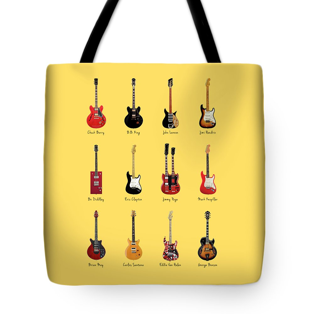 Fender Stratocaster Tote Bag featuring the photograph Guitar Icons No1 by Mark Rogan