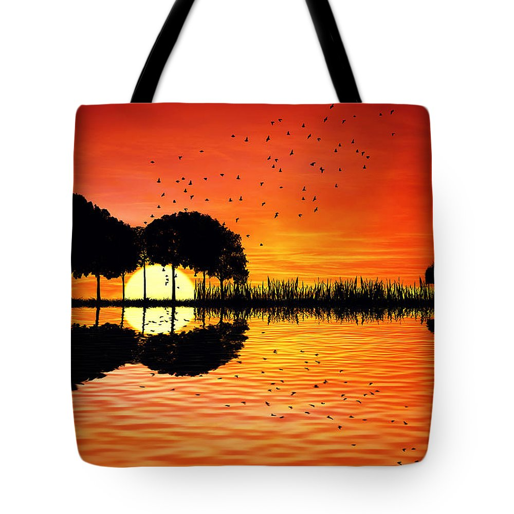 Guitar Tote Bag featuring the digital art Guitar Island Sunset by Psycho Shadow