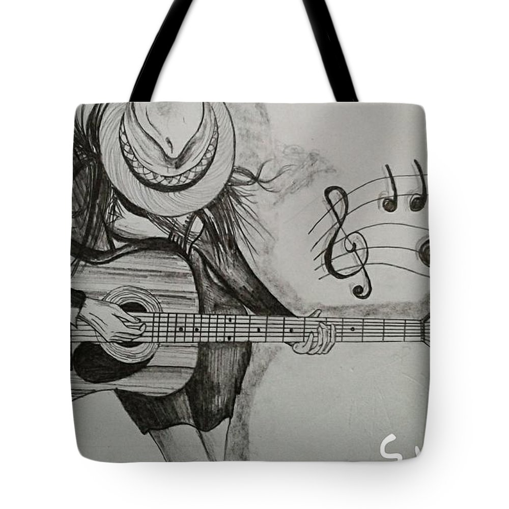 Girl with cute hairstyle tote bag featuring the drawing guitar on girl hands by