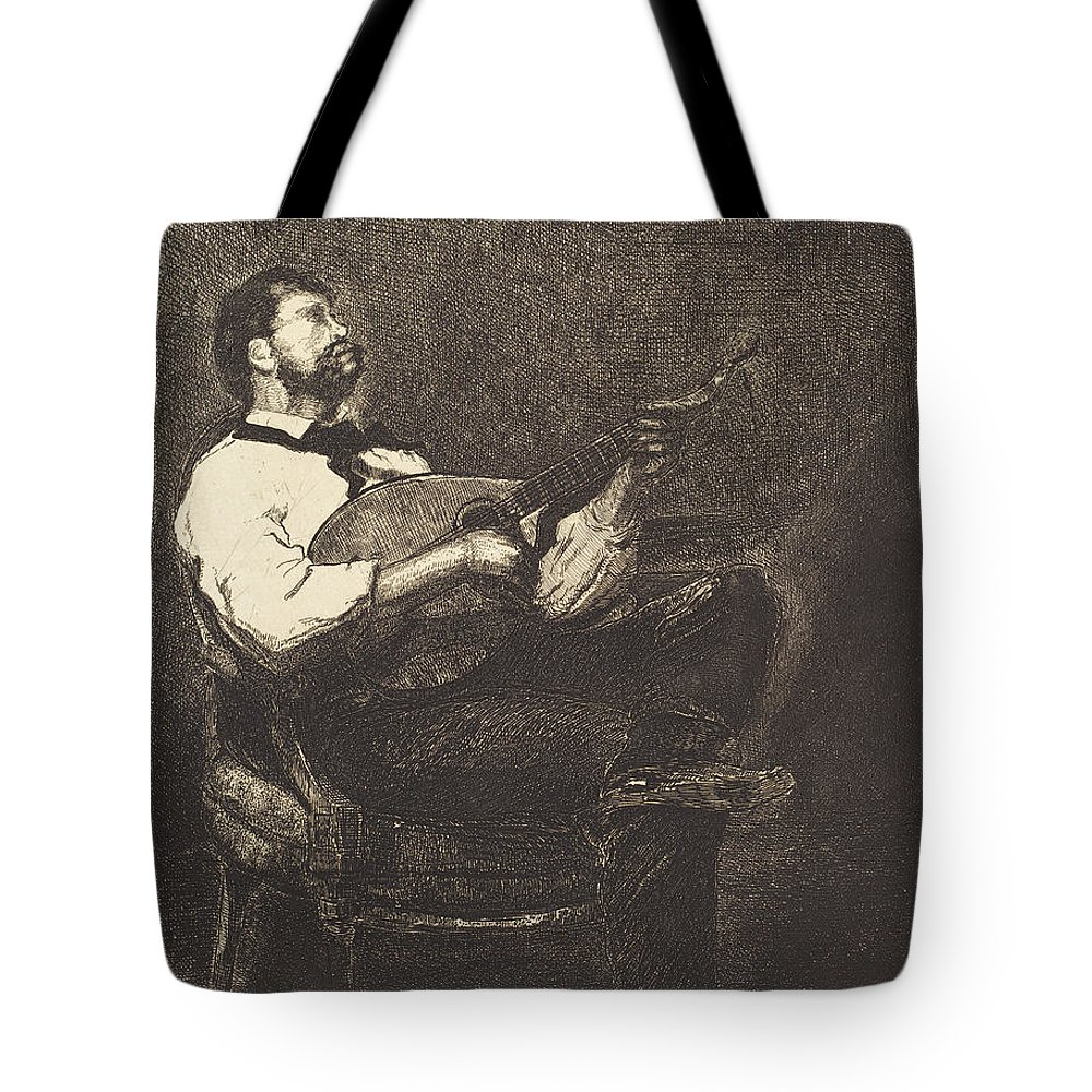 Guitar Player Tote Bag featuring the drawing Guitar Player by Francois Bonvin