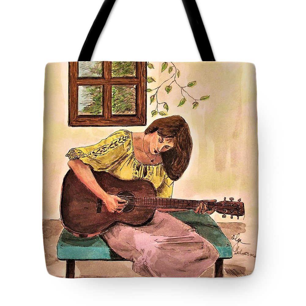 Guitars Tote Bag featuring the painting Guitar Player by Olga Silverman