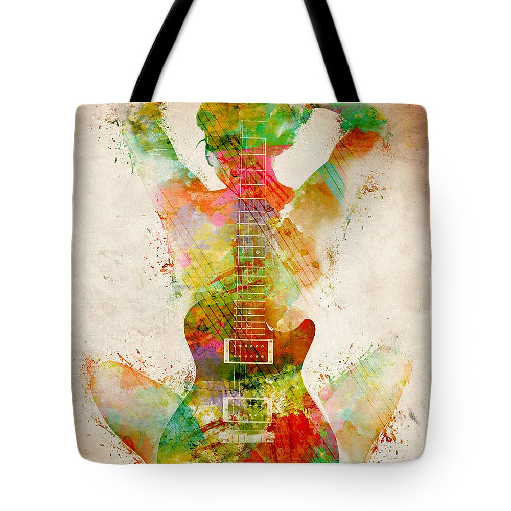 Guitar Tote Bag featuring the digital art Guitar Siren by Nikki Smith