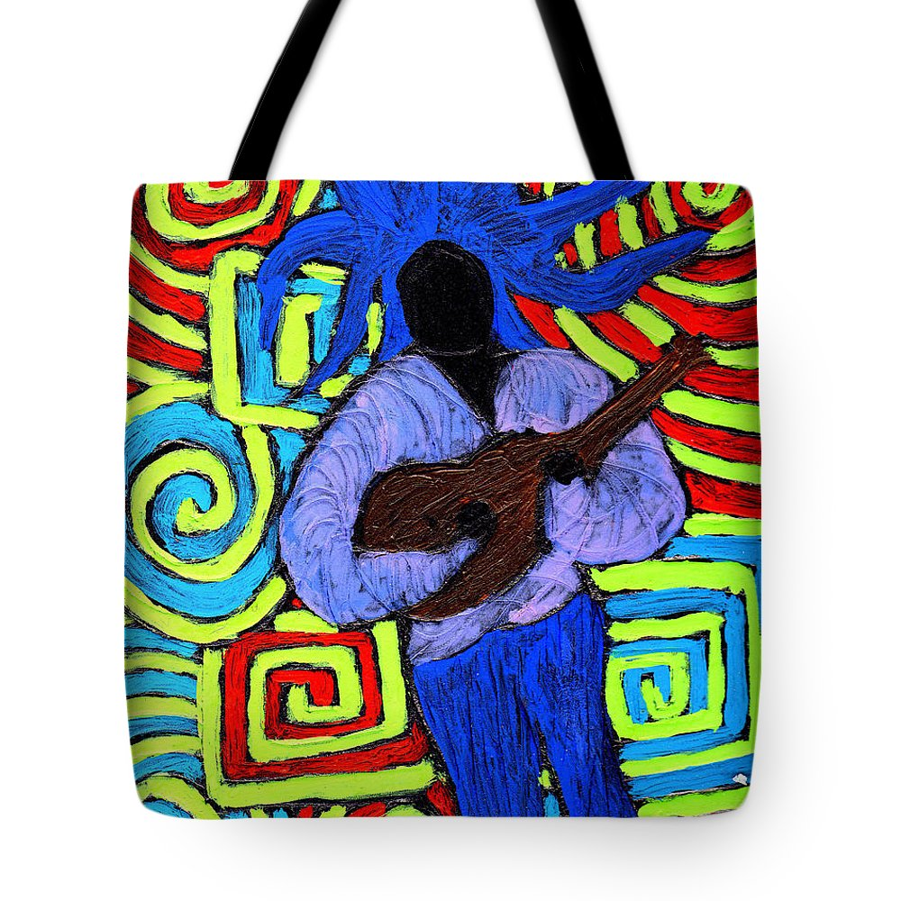Music Tote Bag featuring the painting Guitar Solo by Wayne Potrafka