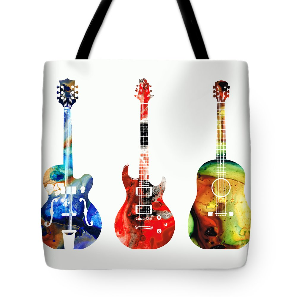 Guitar Tote Bag featuring the painting Guitar Threesome - Colorful Guitars By Sharon Cummings by Sharon Cummings