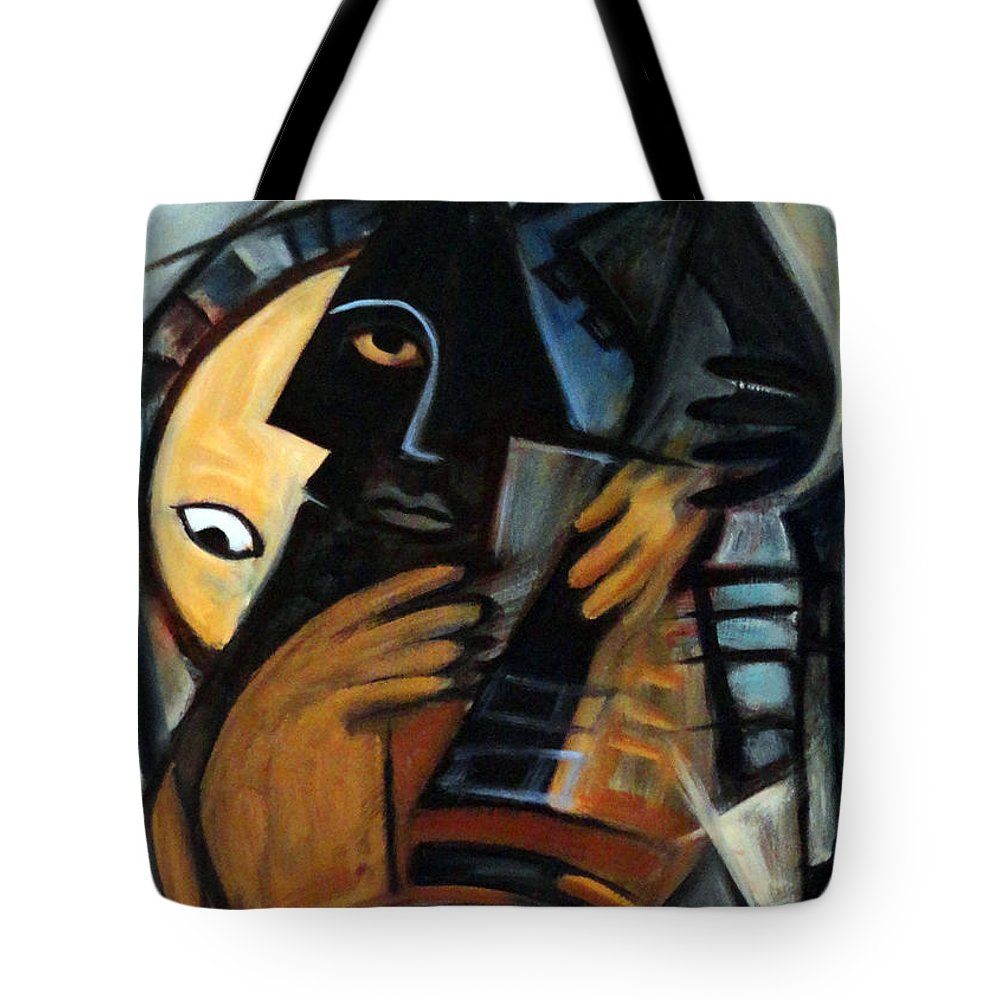 Cubism Tote Bag featuring the painting Guitarist by Valerie Vescovi