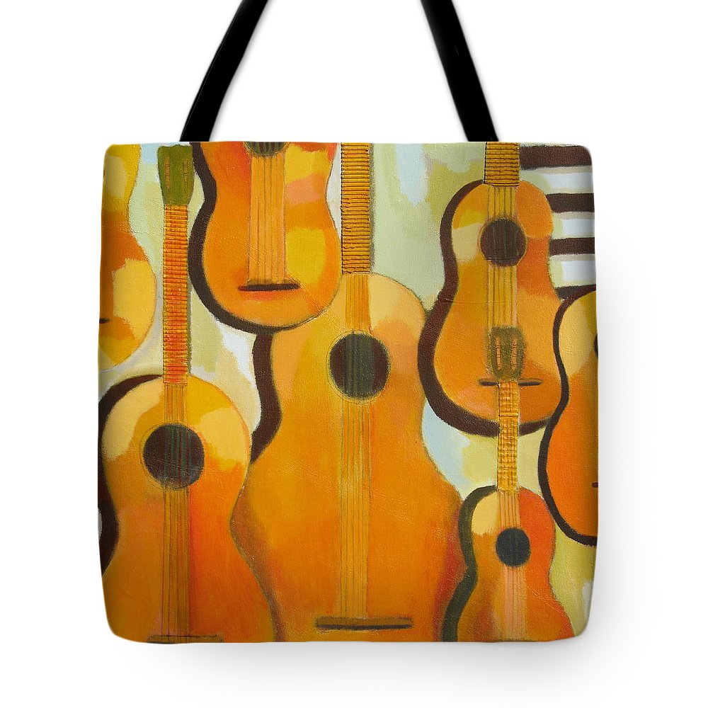 Abstract Tote Bag featuring the painting Guitars by Habib Ayat