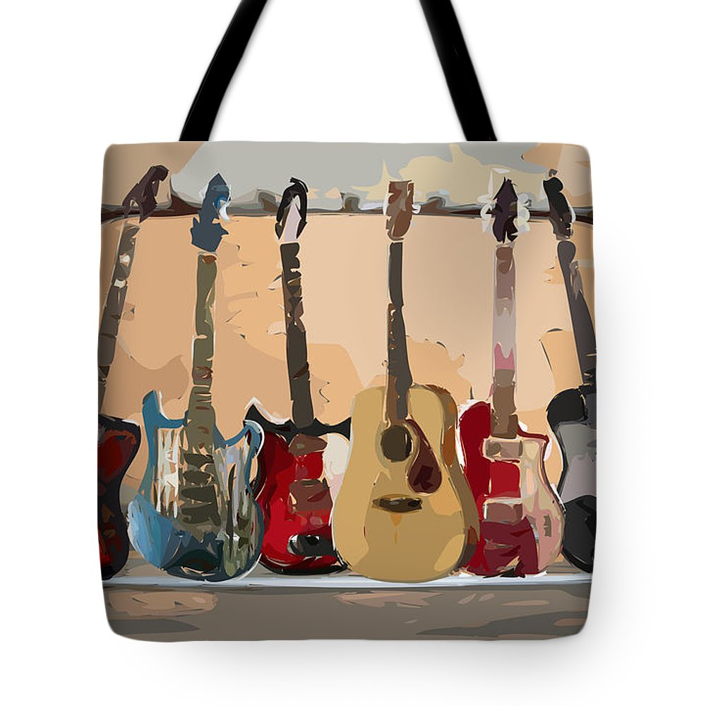 Guitar Tote Bag featuring the digital art Guitars On A Rack by Arline Wagner