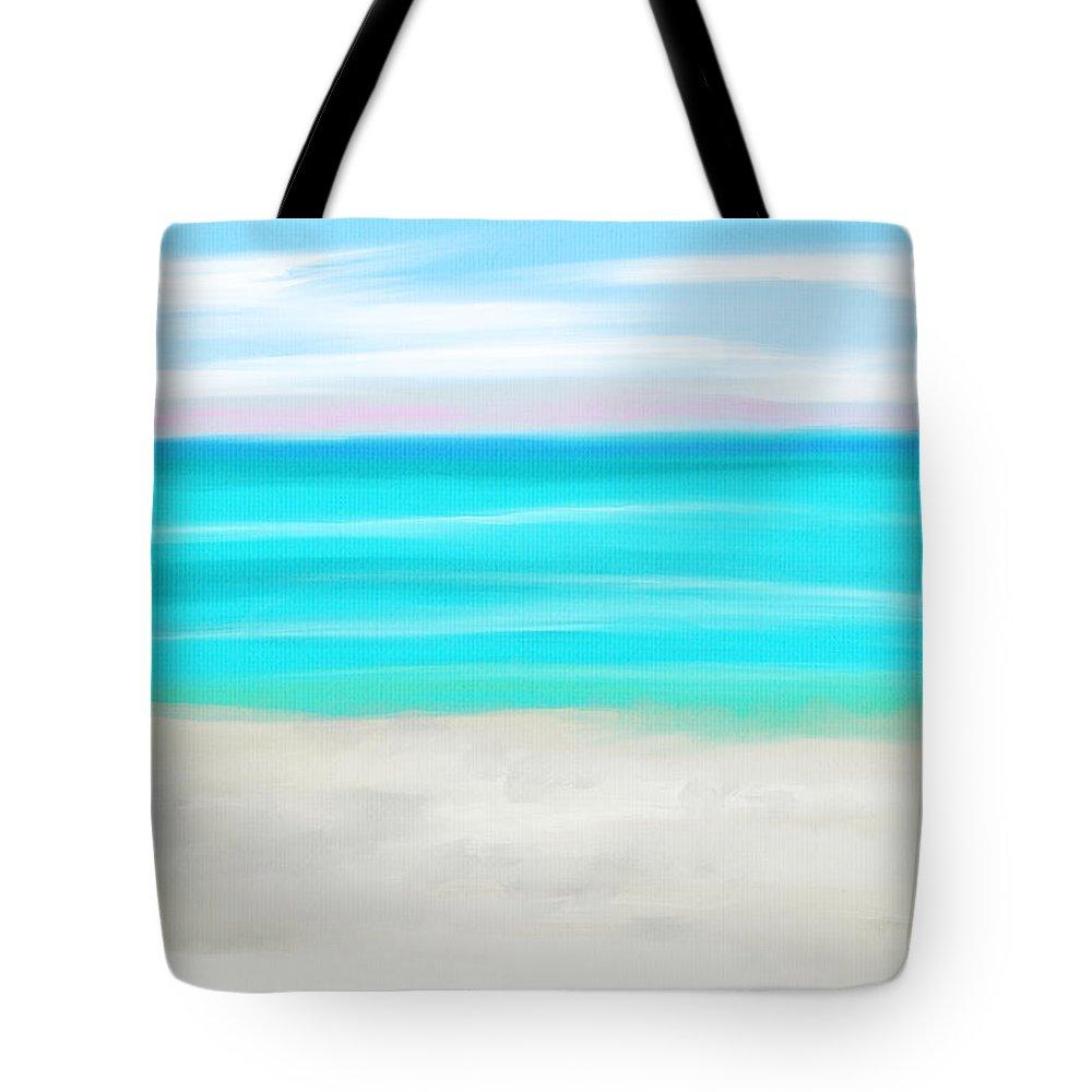 Beach Tote Bag featuring the digital art Gulf Beach by Michael Kallstrom