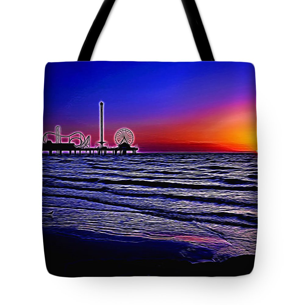 Sunrise Tote Bag featuring the photograph Gulf Coast Sunrise Painted by Judy Vincent